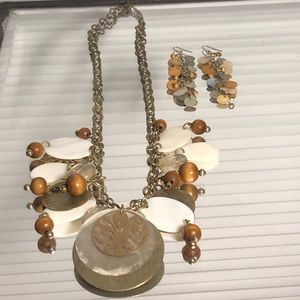Chunky Shell & Wooden Jewelry (Necklace & Earrings